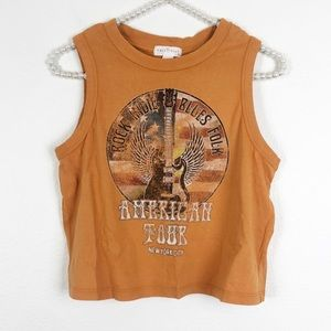 Tops - American Tour Rock & Roll Cropped Tank Top Small